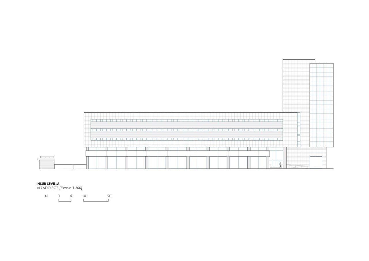 Plano alzado Este del edificio