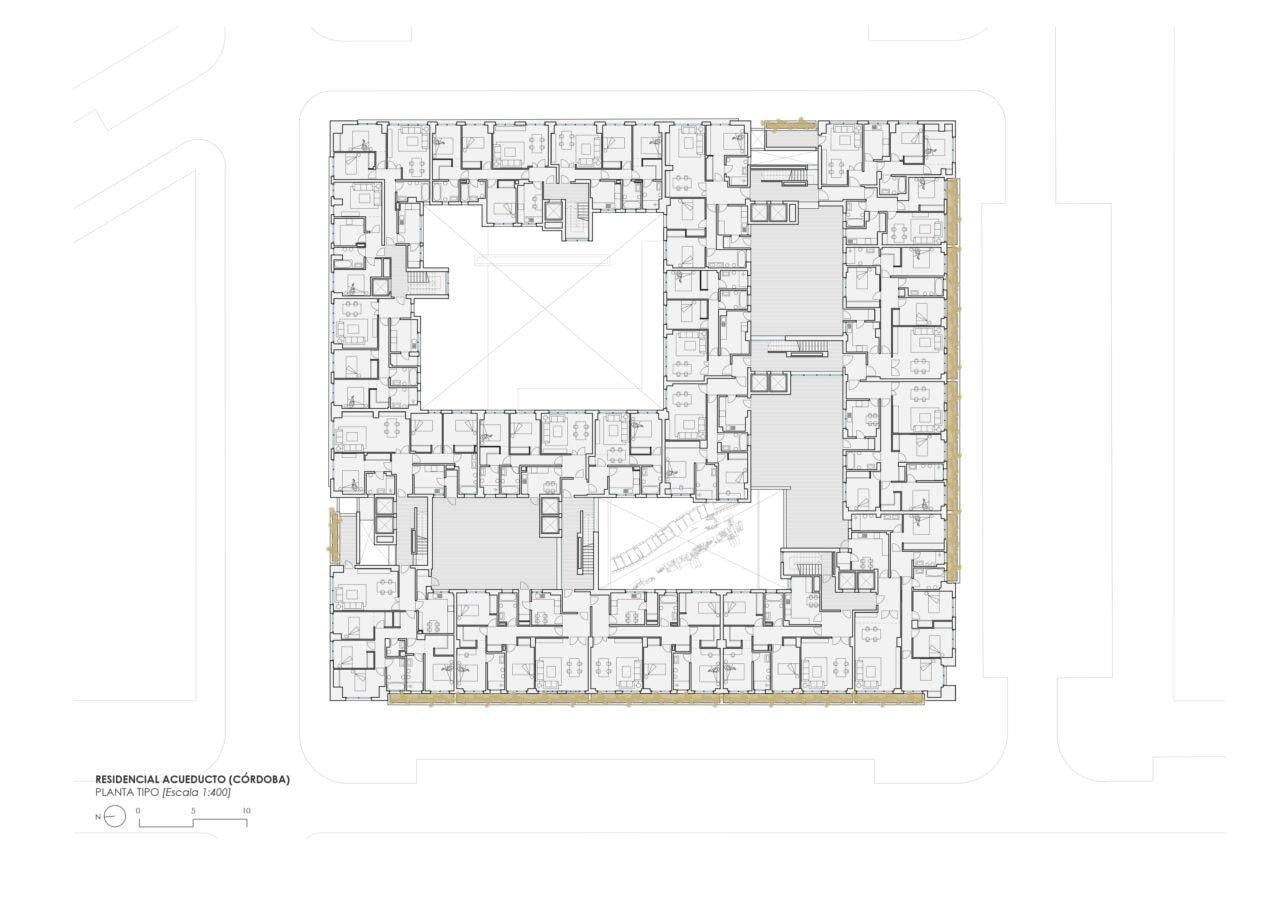 Planta tipo del proyecto residencial Acueducto en Córdoba por DPYA Arquitectura