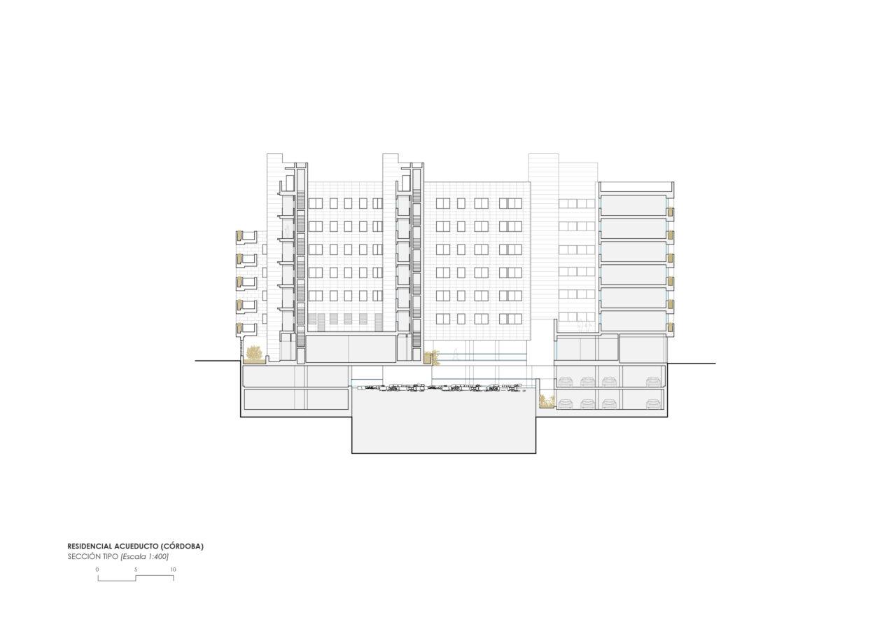 Sección transversal del proyecto residencial Acueducto en Córdoba por DPYA Arquitectura