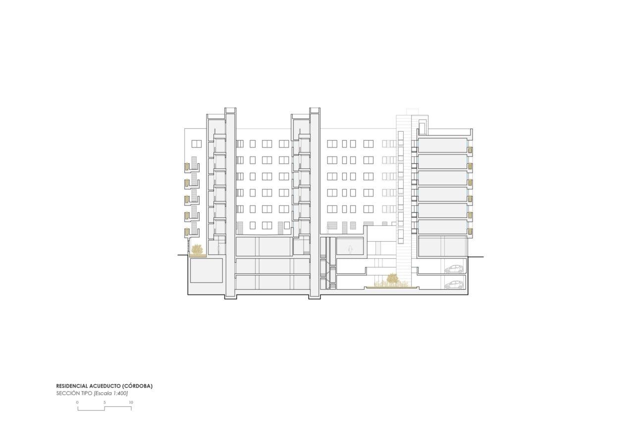 Sección longitudinal del proyecto residencial Acueducto en Córdoba por DPYA Arquitectura