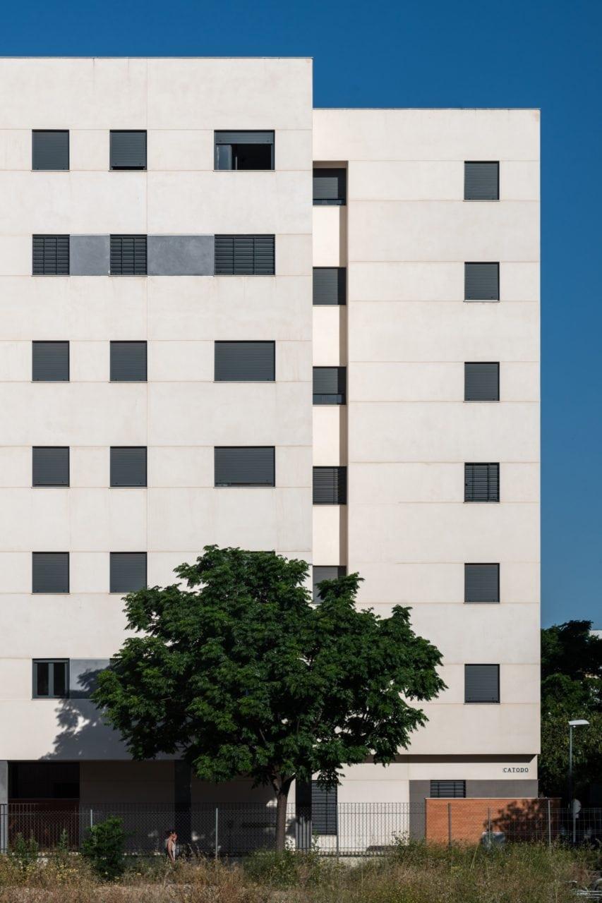 Vista de la fachada del edificio, con un árbol en la parte inferior