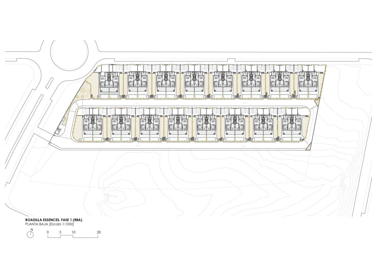 Plano de implantación urbana del proyecto de Boadilla por DPYA Arquitectura