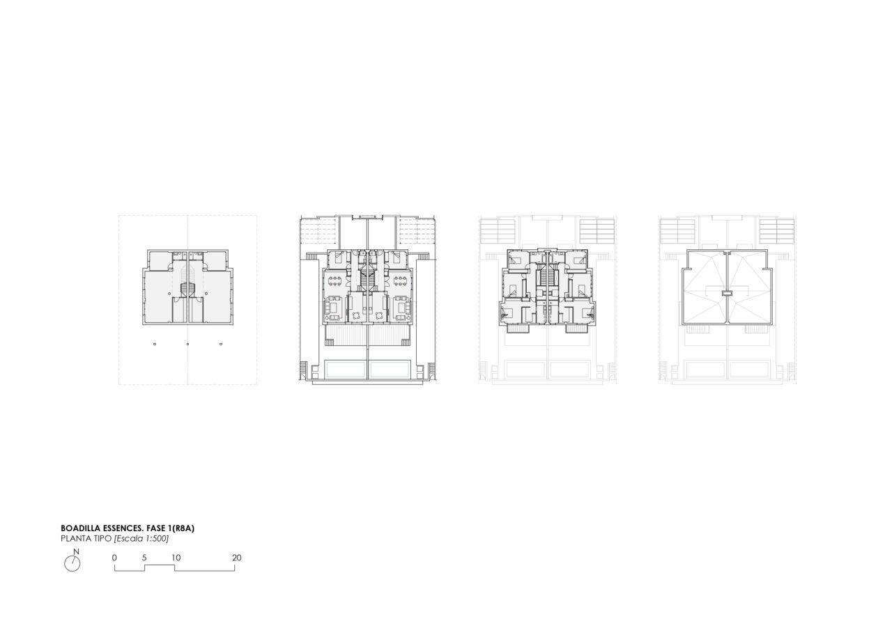 Plano de plantas de la vivienda tipo en el proyecto Boadilla