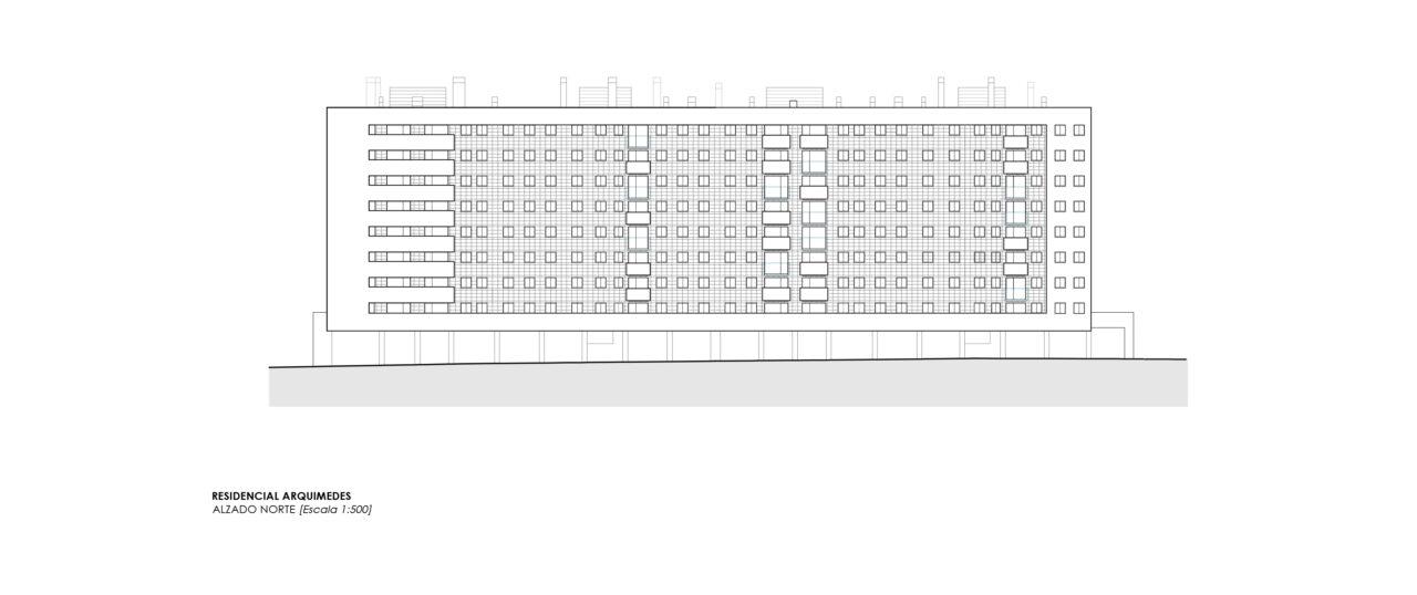 Alzado del Residencial Arquimedes en Entrenúcleos, por DPYA Arquitectura