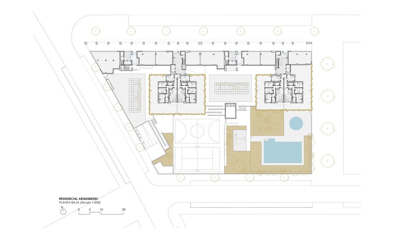 Planta baja del Residencial Arquimedes en Entrenúcleos, por DPYA Arquitectura