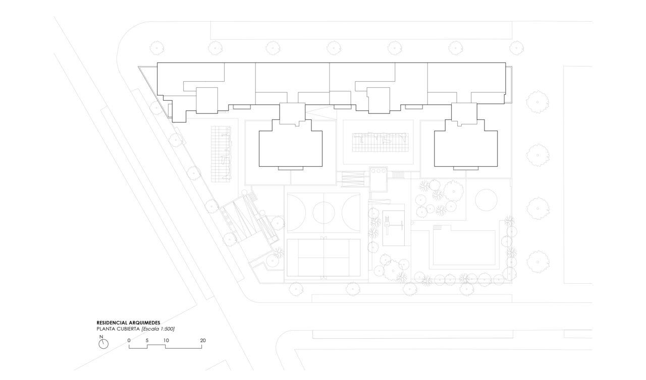 Planta cubierta del Residencial Arquimedes en Entrenúcleos, por DPYA Arquitectura