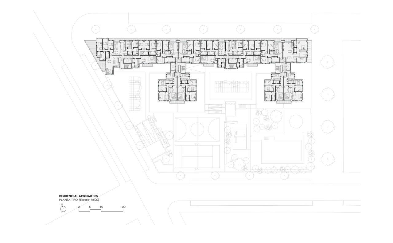 Planta tipo del Residencial Arquimedes en Entrenúcleos, por DPYA Arquitectura