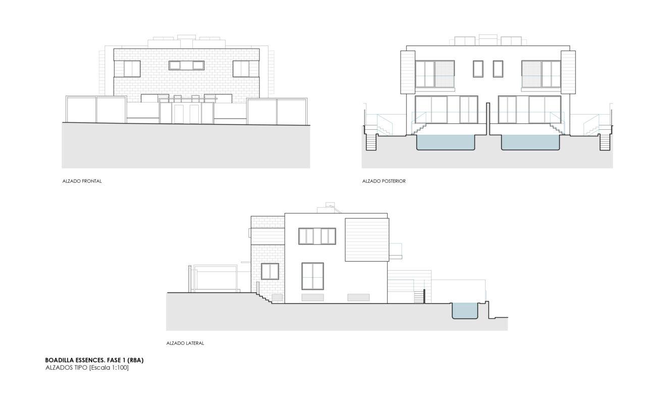 Plano de alzado tipo en el proyecto Boadilla por DPYA Arquitectura