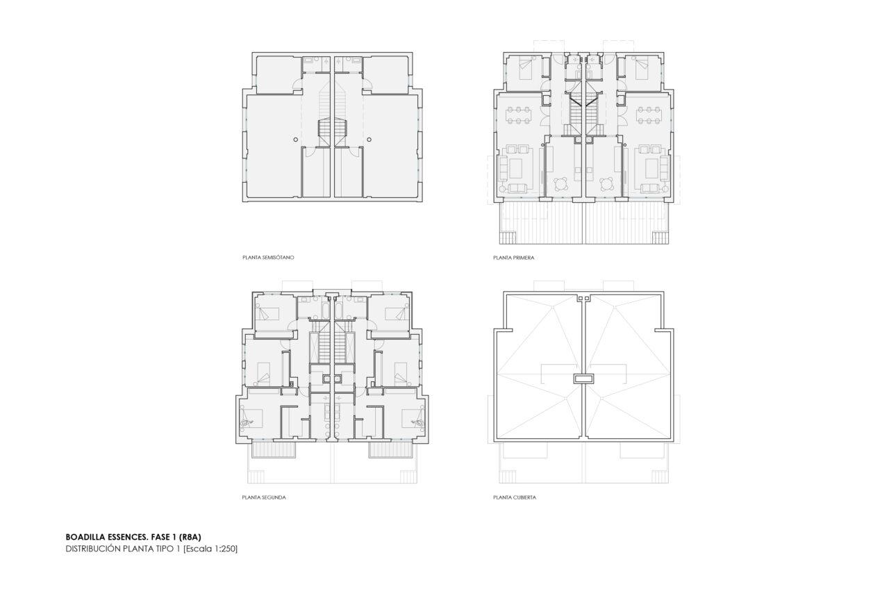 Plano de vivienda tipo en el proyecto Boadilla por DPYA Arquitectura
