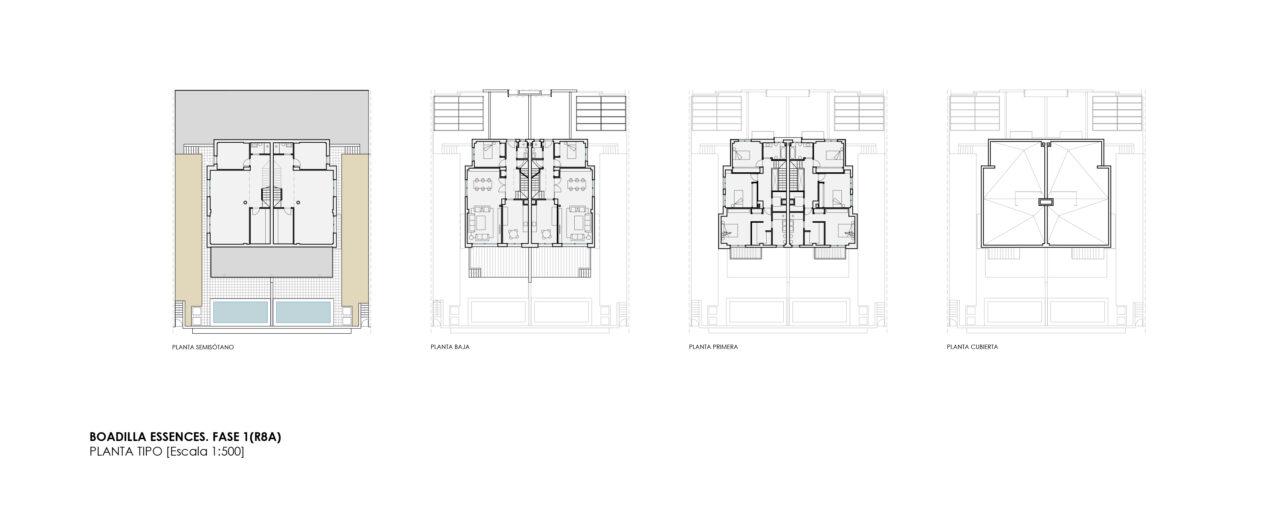 Plano de conjunto de la vivienda tipo en el proyecto Boadilla por DPYA Arquitectura