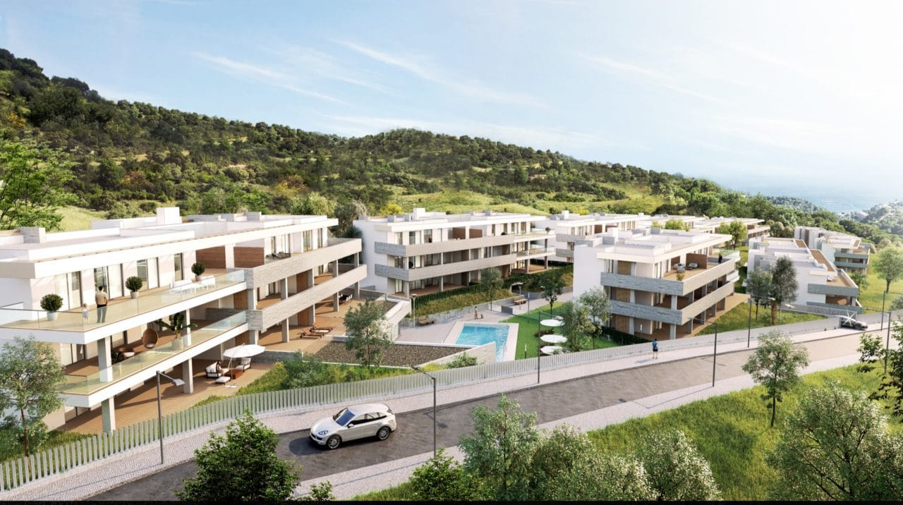 Infografía aérea del proyecto residencial Quintessence en el Alto de Los Monteros