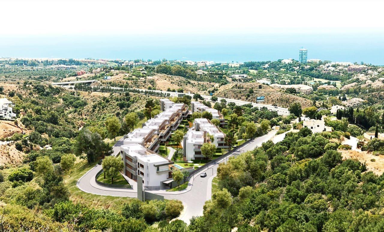 Infografía aérea del proyecto residencial integrado en el terreno