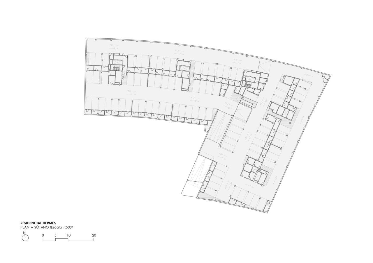 Planta sótano del proyecto residencial Hermes