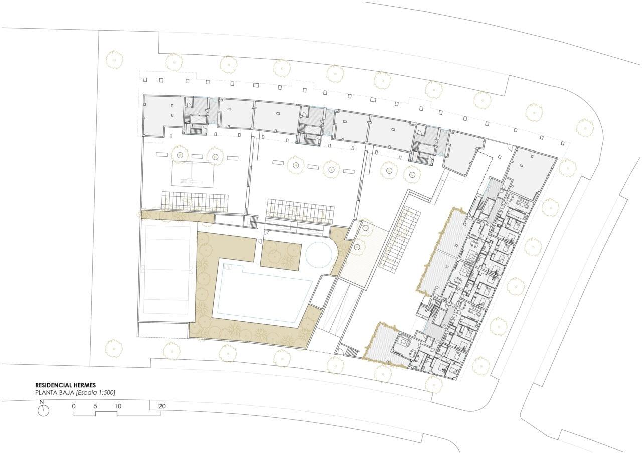 Planta baja del proyecto residencial Hermes