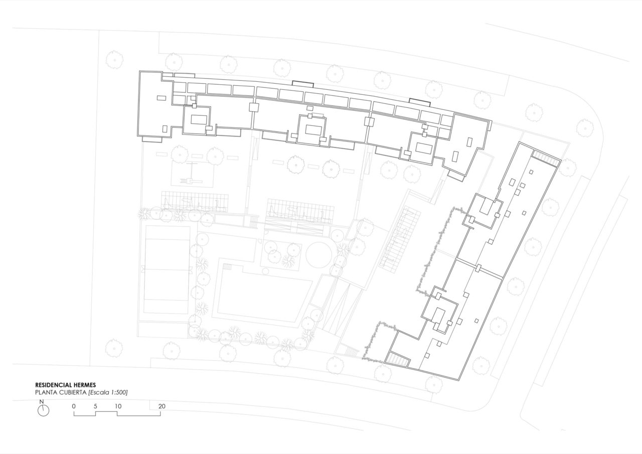 Plano de planta cubierta Residencial Hermes