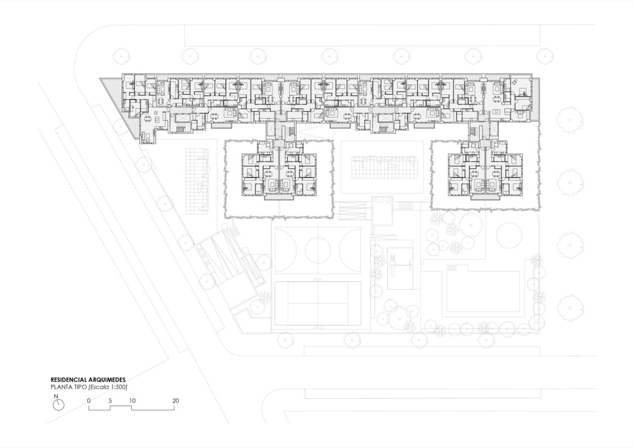 Plano planta tipo Residencial Hermes
