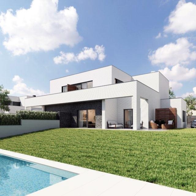 Infografía de una de las viviendas vista desde el jardín y la piscina