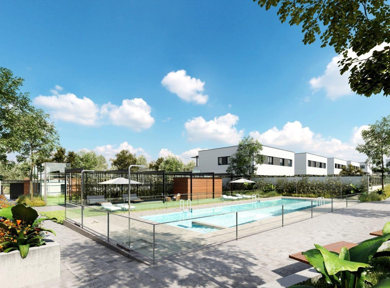 Infografía de las zonas comunes de la urbanización Montevilla, incluyendo la piscina