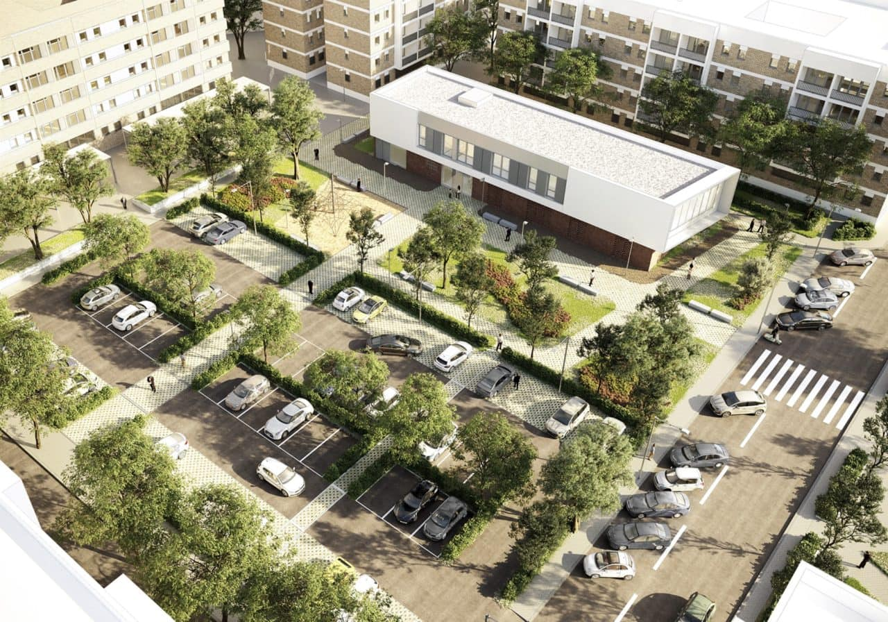 Infografía del nuevo edificio y aparcamiento integrados en el entorno