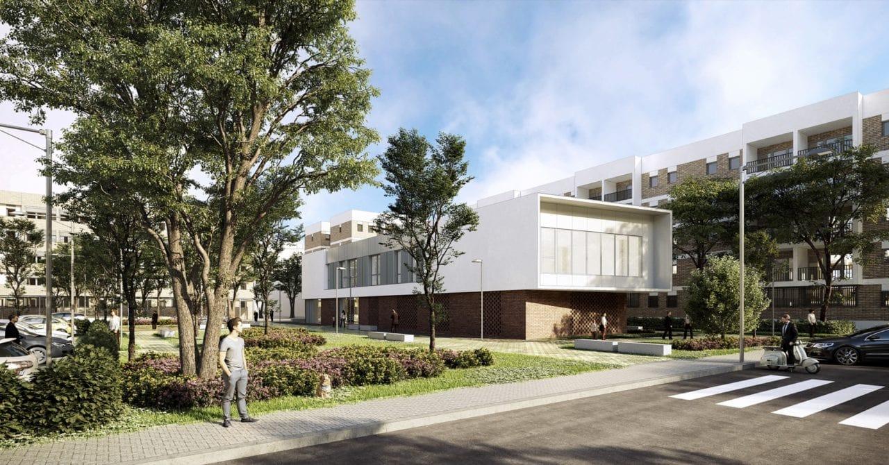 Infografía del nuevo edificio integrado en el entorno