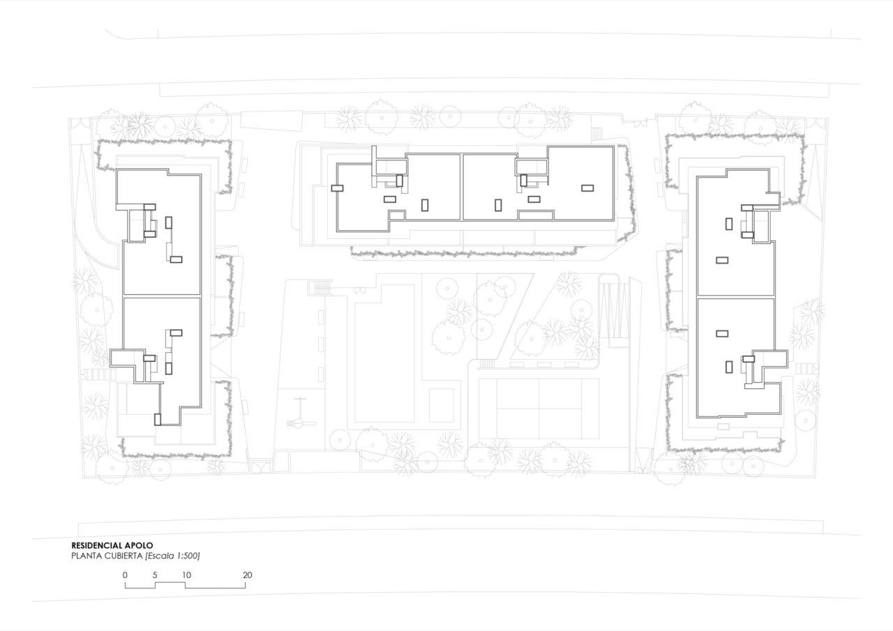 Plano de planta cubierta Residencial Selecta Apolo
