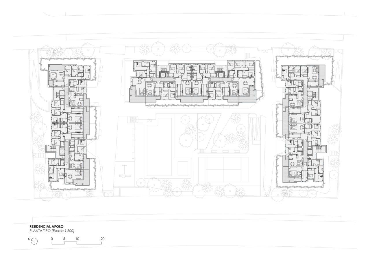 Plano de planta tipo Residencial Selecta Apolo