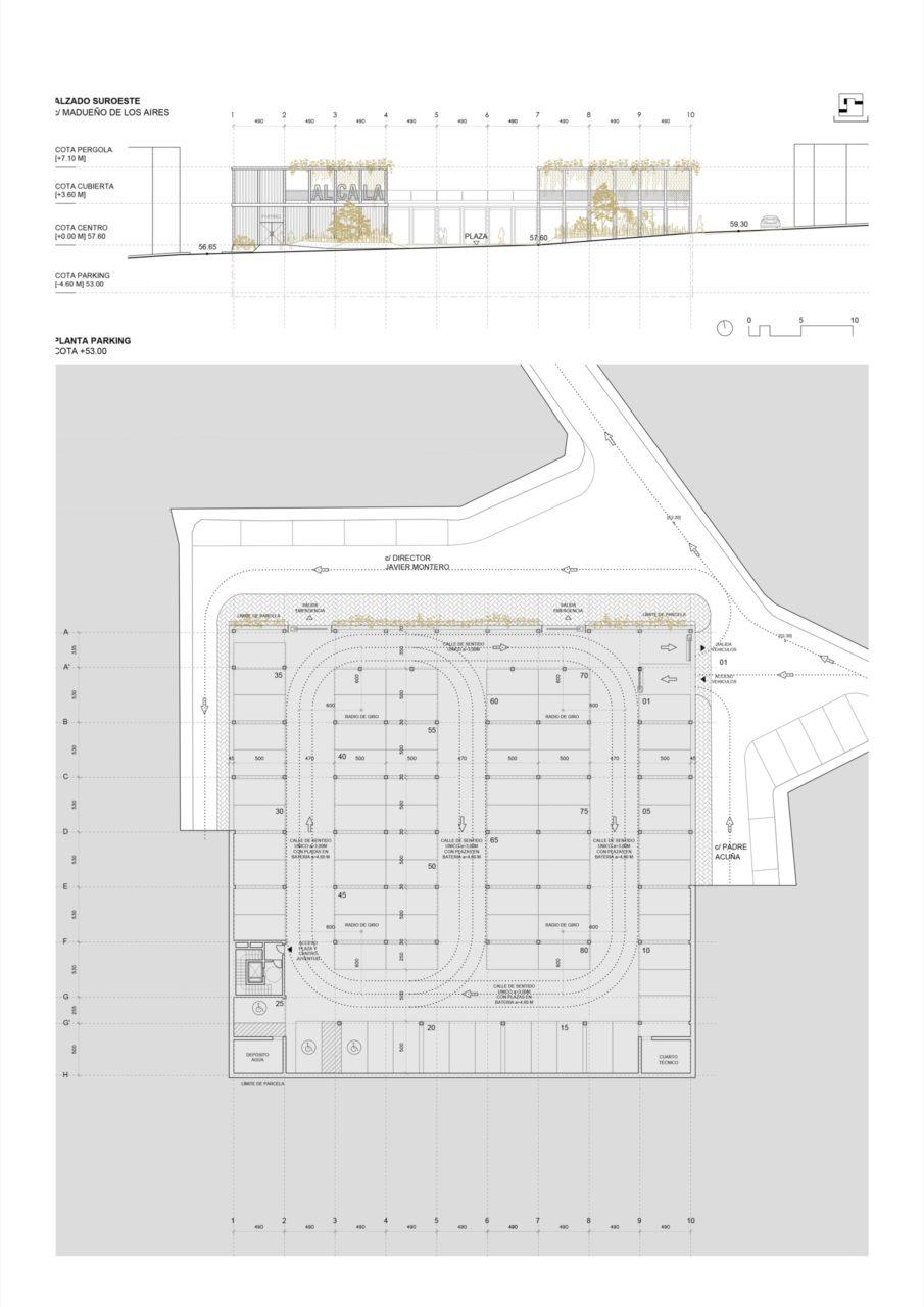 Plano de planta parking y alzado suroeste
