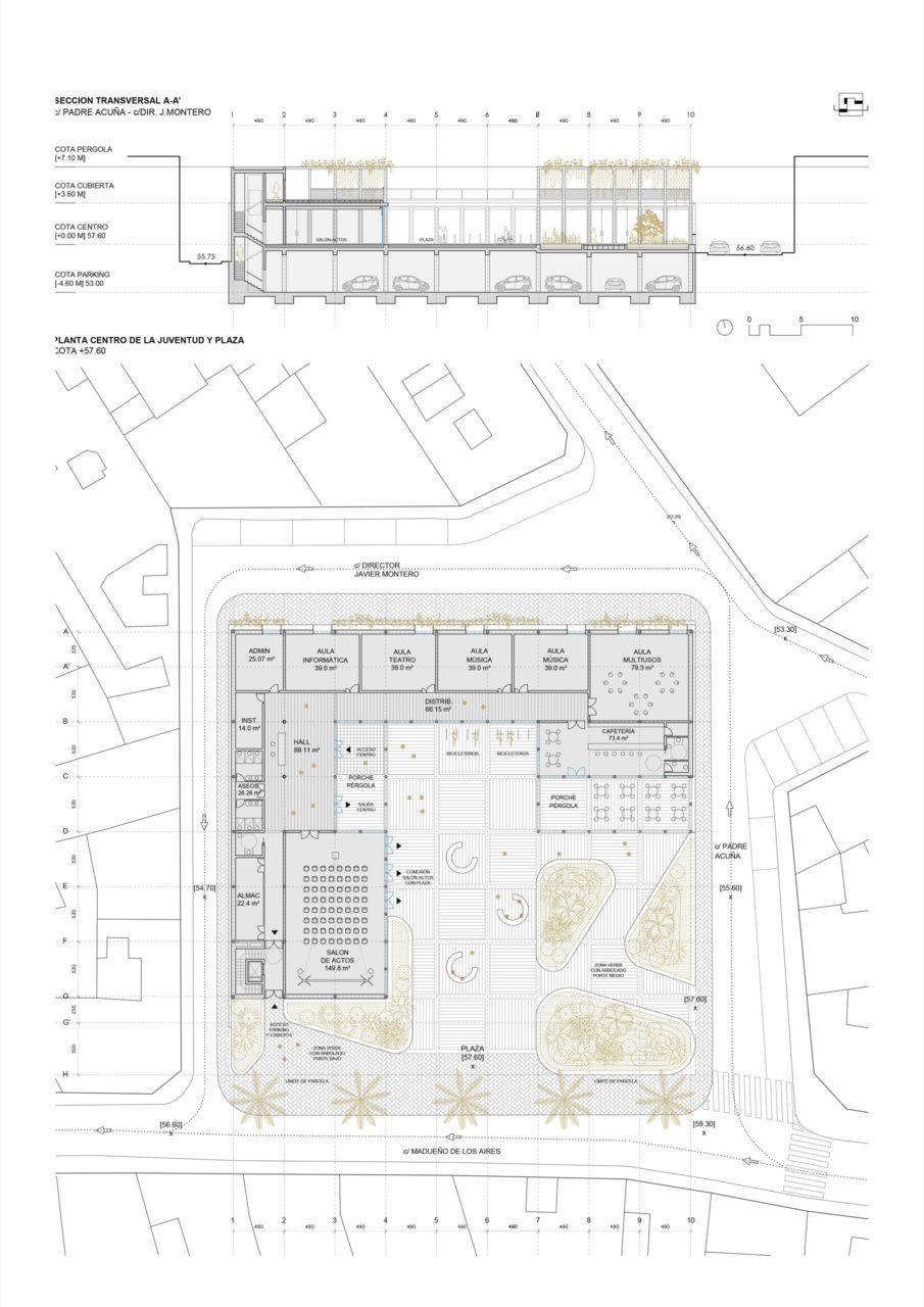 Plano de planta centro y sección transversal del edificio
