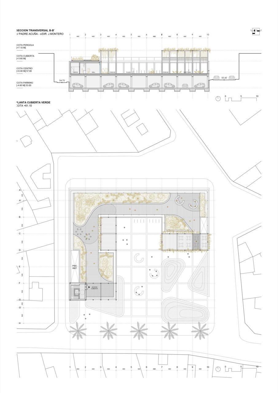 Plano planta de cubierta y sección transversal