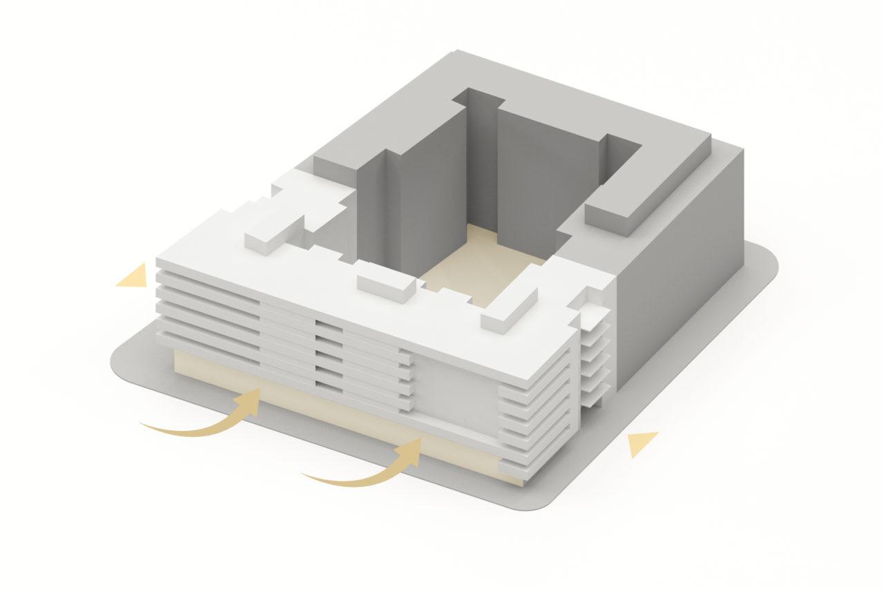 Vista axonométrica con la explicación del proyecto de Ramón Carande