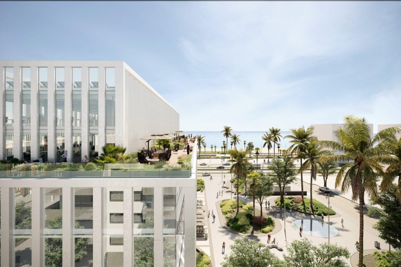 Infografía de una vista aérea de la terraza situada en la parte superior del edificio, con la playa y el mar de fondo